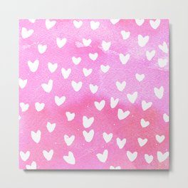 WHiTE HEARTS PINK WATERCOLOR by C'EST LA VIV Metal Print