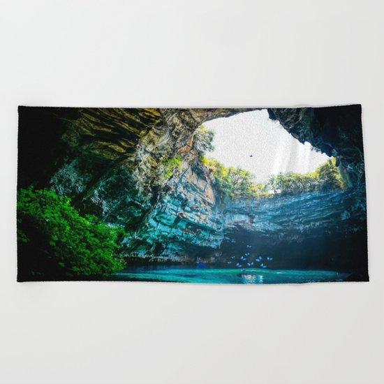 Sea Cave in Greece Beach Towel
