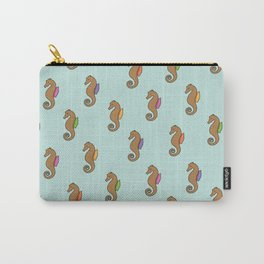 Floating Seahorses // Green Carry-All Pouch