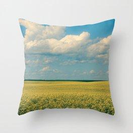 Prairie Summer; big blue skies and golden canola fields  Throw Pillow