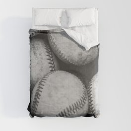 Baseballs Black & White Graphic Illustration Design Comforters