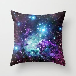 Fox Fur Nebula : Purple Teal Galaxy Throw Pillow