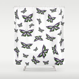 Fly With Pride: Genderqueer Flag Butterfly Shower Curtain