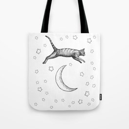 Cat Jumping Over The Moon Tote Bag
