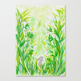Bunny in strawberry patch Canvas Print