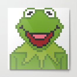 Kermit The Muppets Pixel Character Metal Print