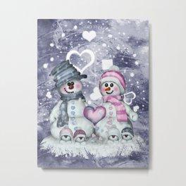 Snowman family Metal Print