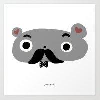 moustache Art Prints featuring moustache by Sucoco