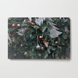 Christmas Ornaments On Trees Photography Metal Print