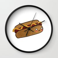 hot dog Wall Clocks featuring Hot Dog by Tuesday Alissia