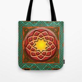 Celtic Knotwork panel in Persian Green Tote Bag