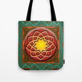 Celtic Knotwork panel in Persian Green Tote Bag