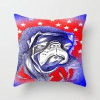 steve mcqueen Throw Pillows featuring McQueen by Mark Holden