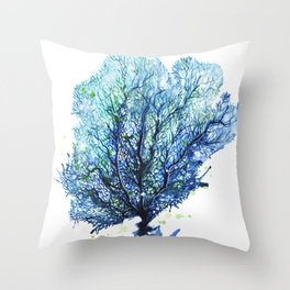 Fan Coral - Aqua Throw Pillow