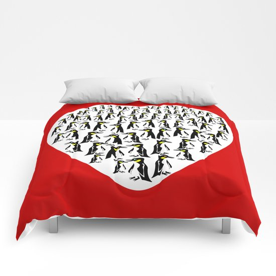 Penguins Clustered into Heart Shape Comforters