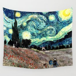 Monet's Poppies with Van Gogh's Starry Night Sky Wall Tapestry