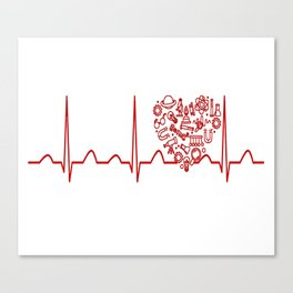 Physics Teacher Heartbeat Canvas Print