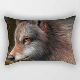 The head of a wolf painting.   Rectangular Pillow