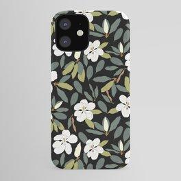 Magnolia Flower Black iPhone Case