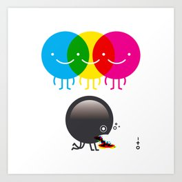 CMY makes K dizzy Art Print