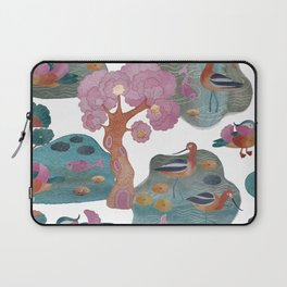 Watercolor with avocet and mandarin duck  Laptop Sleeve