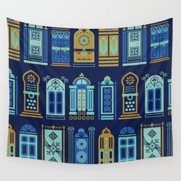 Moroccan Doors – Navy Palette Wall Tapestry