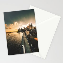 nyc skyline at dusk Stationery Cards