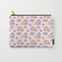 Pink Strawberries and Guinea pig pattern Carry-All Pouch