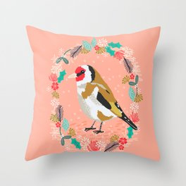 European goldfinch by Andrea Lauren  Throw Pillow