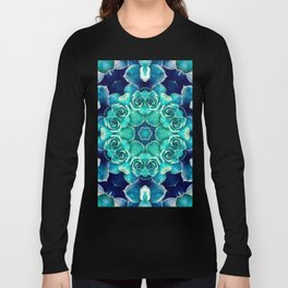 Turquoise Succulents Mandala Long Sleeve T-shirt