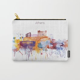 Colorful Athens watercolor skyline Carry-All Pouch