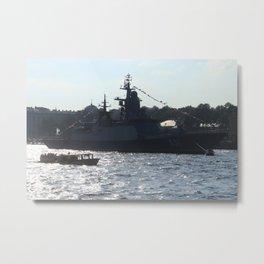 "The military ship ""Smart"" / ""Soobrazitelniy"" 531. The Neva River. Metal Print"