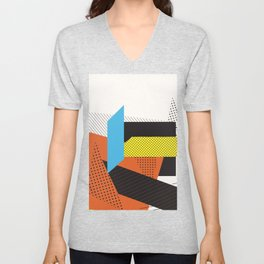 Memphis Throwback Retro 1980s 80s Trendy Hipster Bright Shapes Pattern Eighties Unisex V-Neck