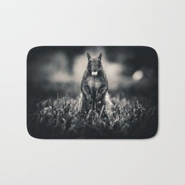 The Collector. Black and White Squirrel Photograph Bath Mat