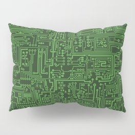 Circuit Board // Light on Dark Green Pillow Sham
