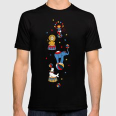 Little Circus Stars on White Black MEDIUM Mens Fitted Tee