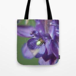 Fluid Nature - Green Jewel In Purple Flower Tote Bag