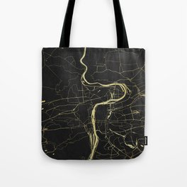 Prague Black and Gold Map Tote Bag