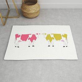 Colorful Rainbow Cows Rug