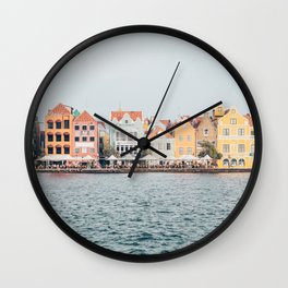 Curaçao / pretty city / travel / wonderfull Island / colorful houses in the street / wal Wall Clock