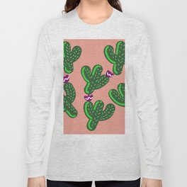 Prickly Cactus with Purple Flowers Long Sleeve T-shirt