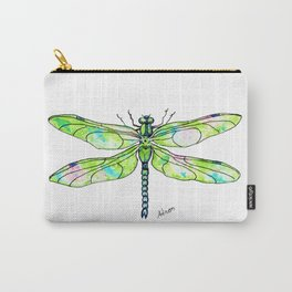 Watercolor Portrait of a Green Dragonfly  Carry-All Pouch