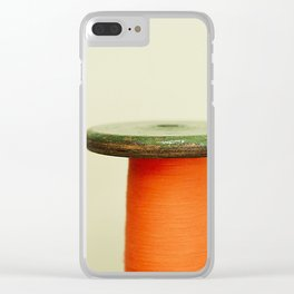Vintage cotton reel Clear iPhone Case