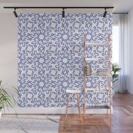 Blue elements of flowers collected in a dense pattern Wall Mural