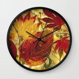 Fall Pressed Leaves Wall Clock