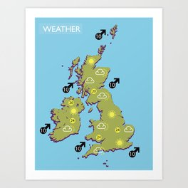 British vintage style television weather map Art Print