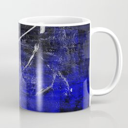 In The Dead Of Night - Textured Abstract In Blue, Black and White Coffee Mug