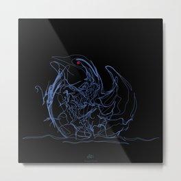 Swan-1. Light blue on Black background-(Red eyes series) Metal Print