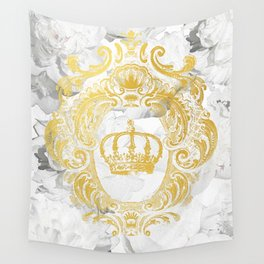 White Peonies Crown Wall Tapestry