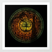 gondor Art Prints featuring Tree of Gondor Stained Glass by Mazuki Arts